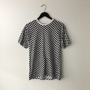 Hanes Chekered T Shirt Black White M Medium